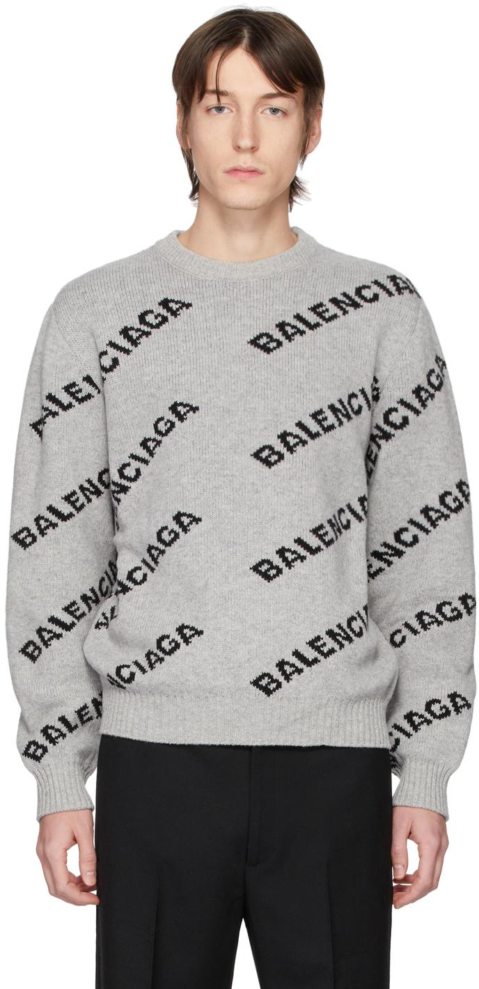 Balenciaga: Grey \u0026 Black All Over Logo