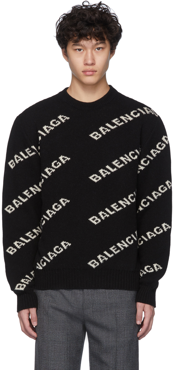 Black \u0026 White All Over Logo Sweater