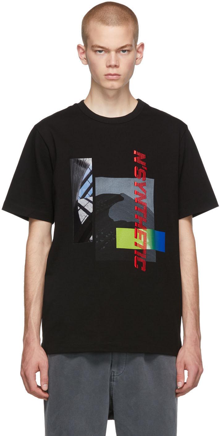Black 'N'Synthetic' Printed T-Shirt