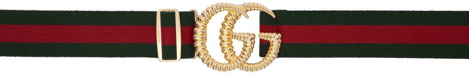 Gucci 绿色 & 红色 GG 织带腰带