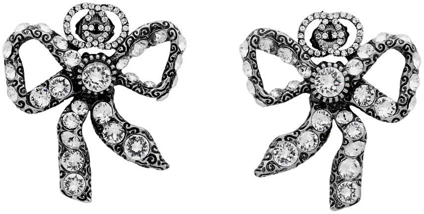 Gucci 银色蝴蝶结水钻耳钉