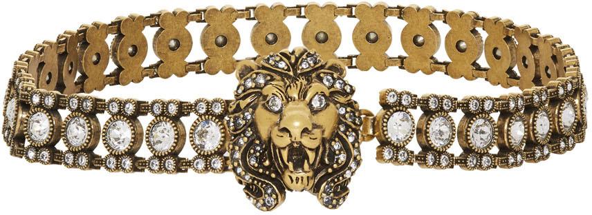 Gold Crystal Lion Head Choker