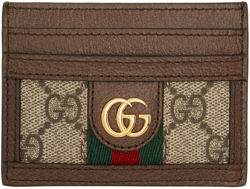 Brown Ophidia GG Card Holder