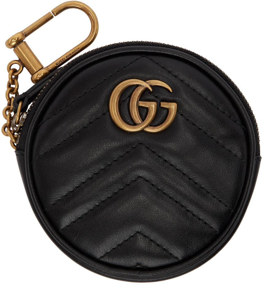 Black Round GG Marmont Coin Pouch
