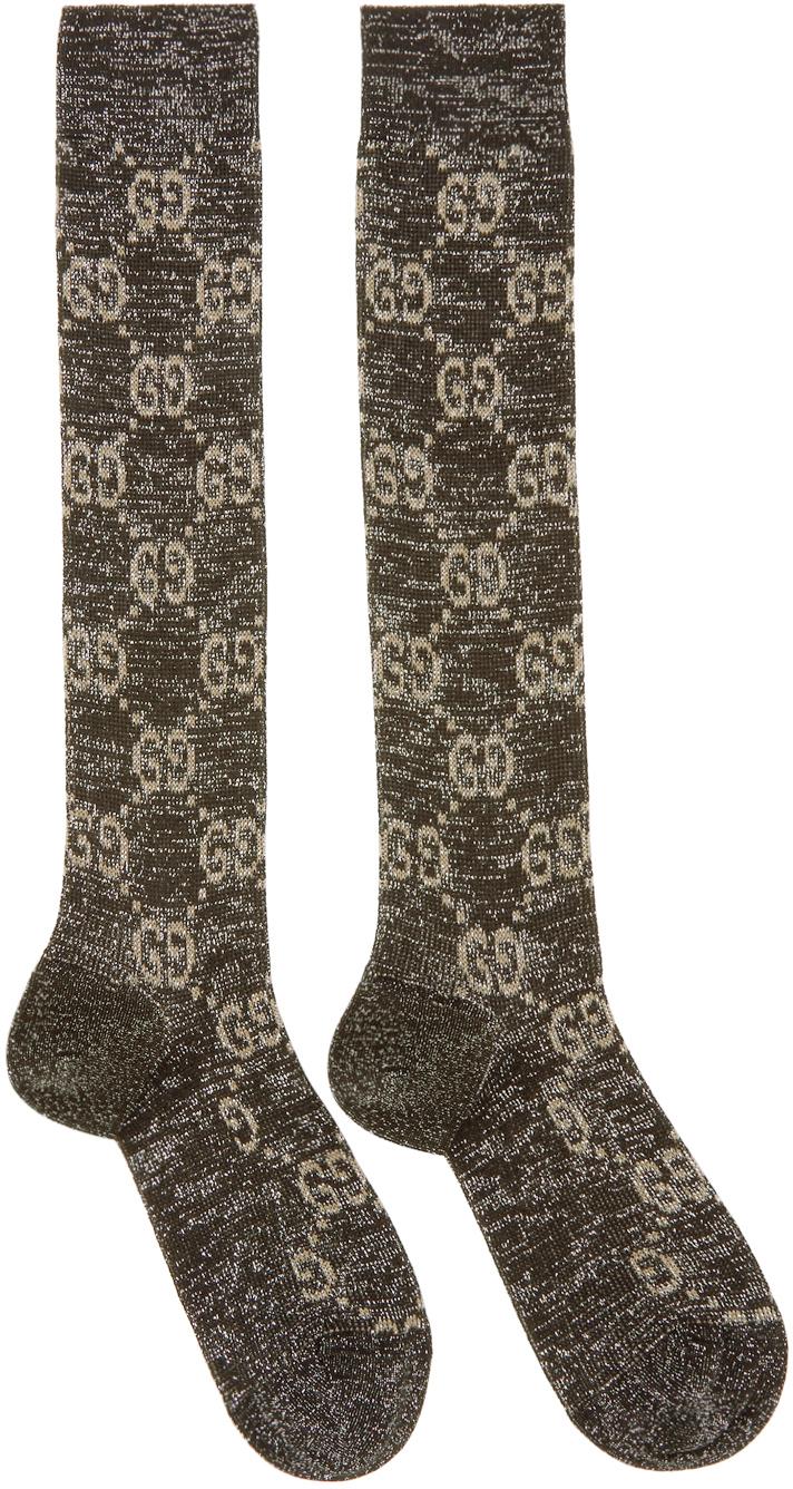 Black & Silver Crystal GG Socks