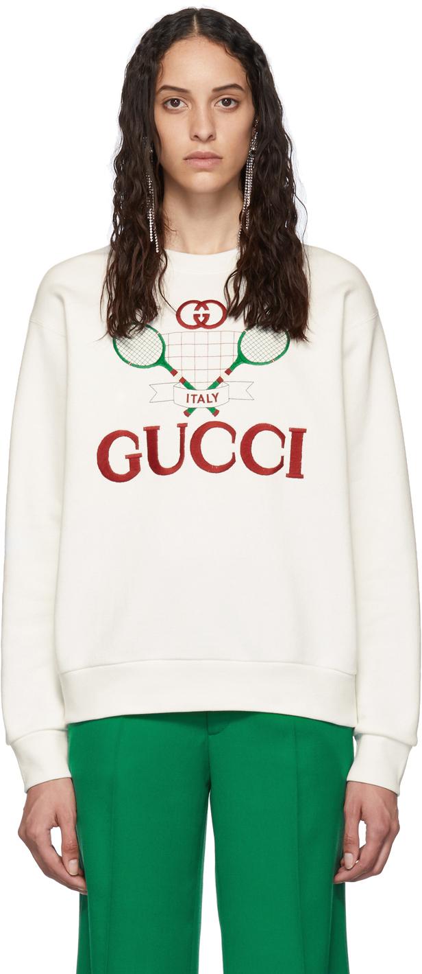 Gucci White Tennis Logo Sweatshirt Ssense