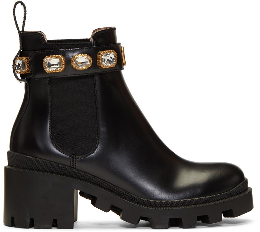 Gucci 黑色 GG 水钻踝靴
