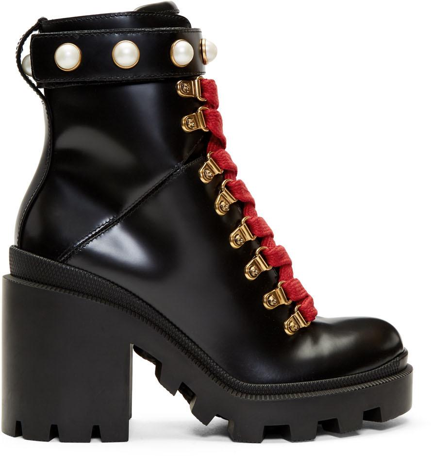 Gucci 黑色 Trip 中筒靴