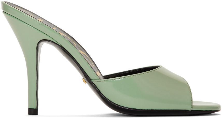 Gucci 绿色高跟凉鞋