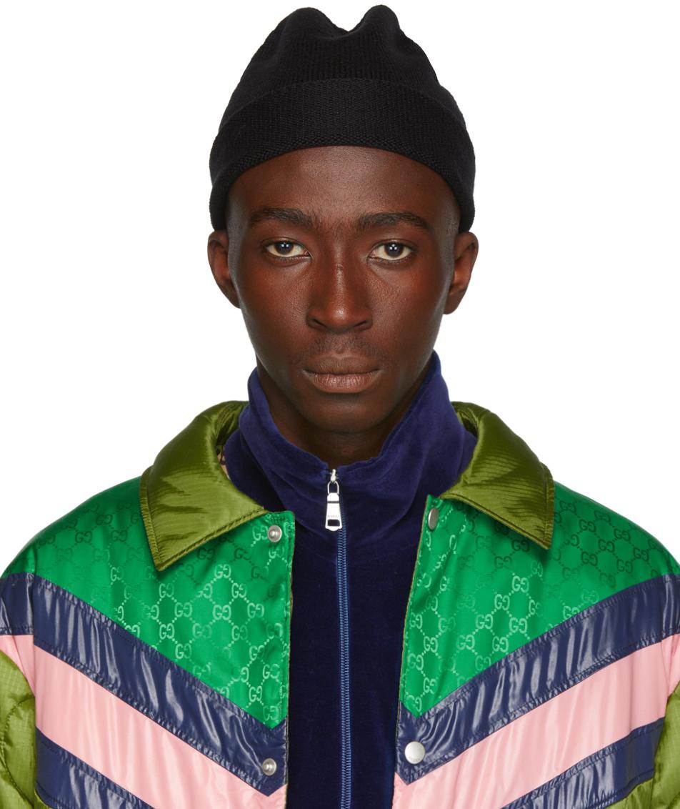 Gucci 黑色 Web 羊毛毛线帽