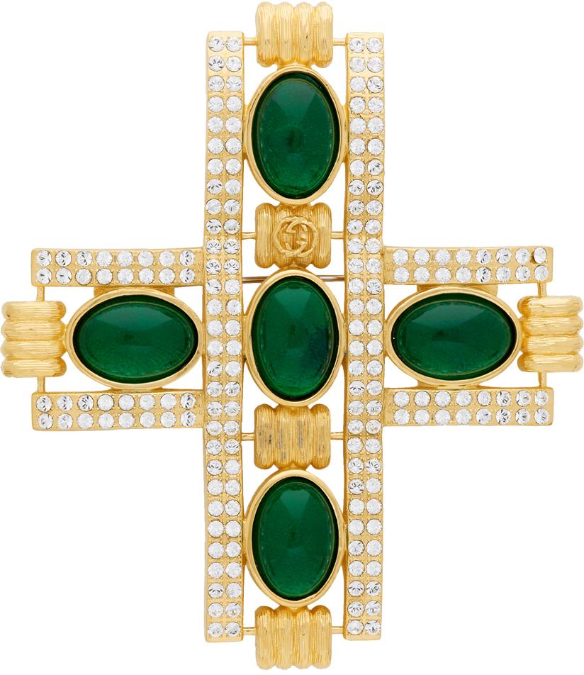 Gold & Green Cabochon Stone Cross Brooch