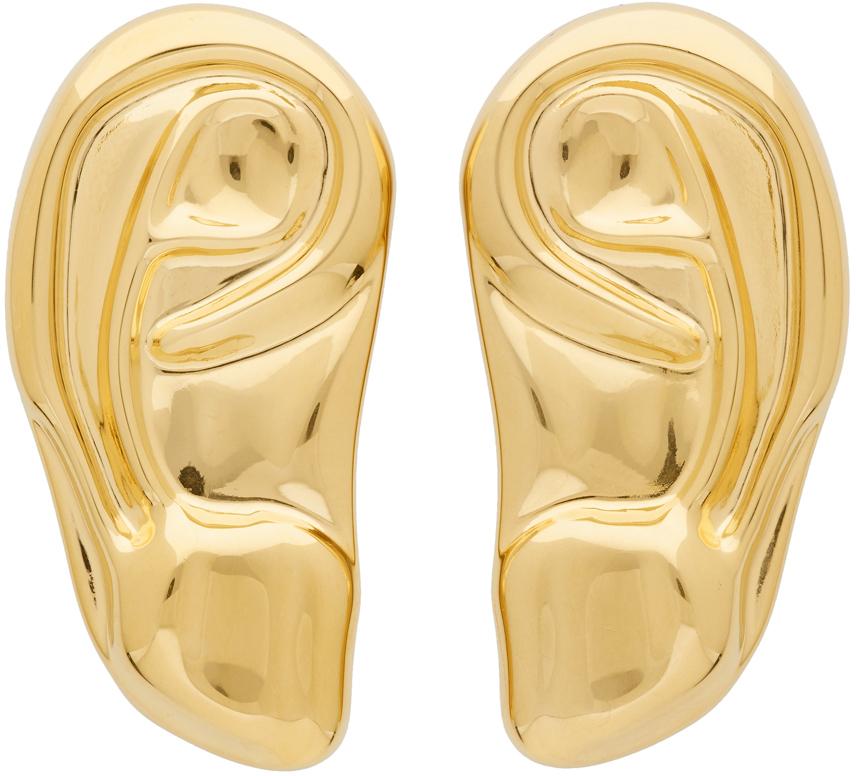 Gold Ear Brooch Set