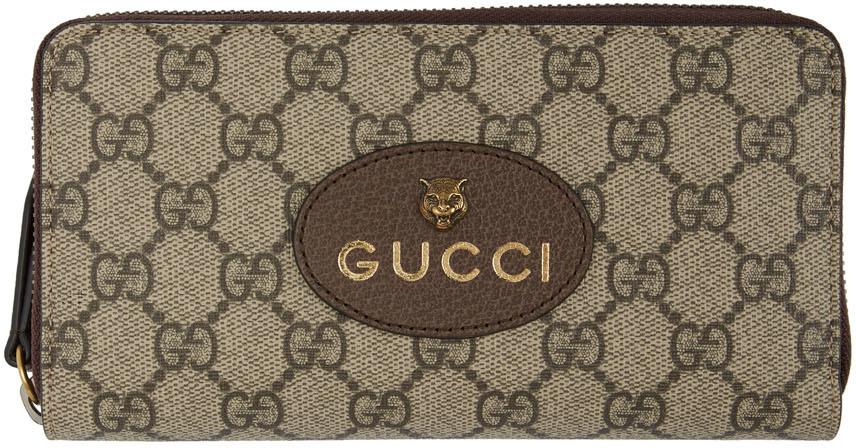 Gucci 驼色 GG Supreme 虎头环绕式拉链钱包