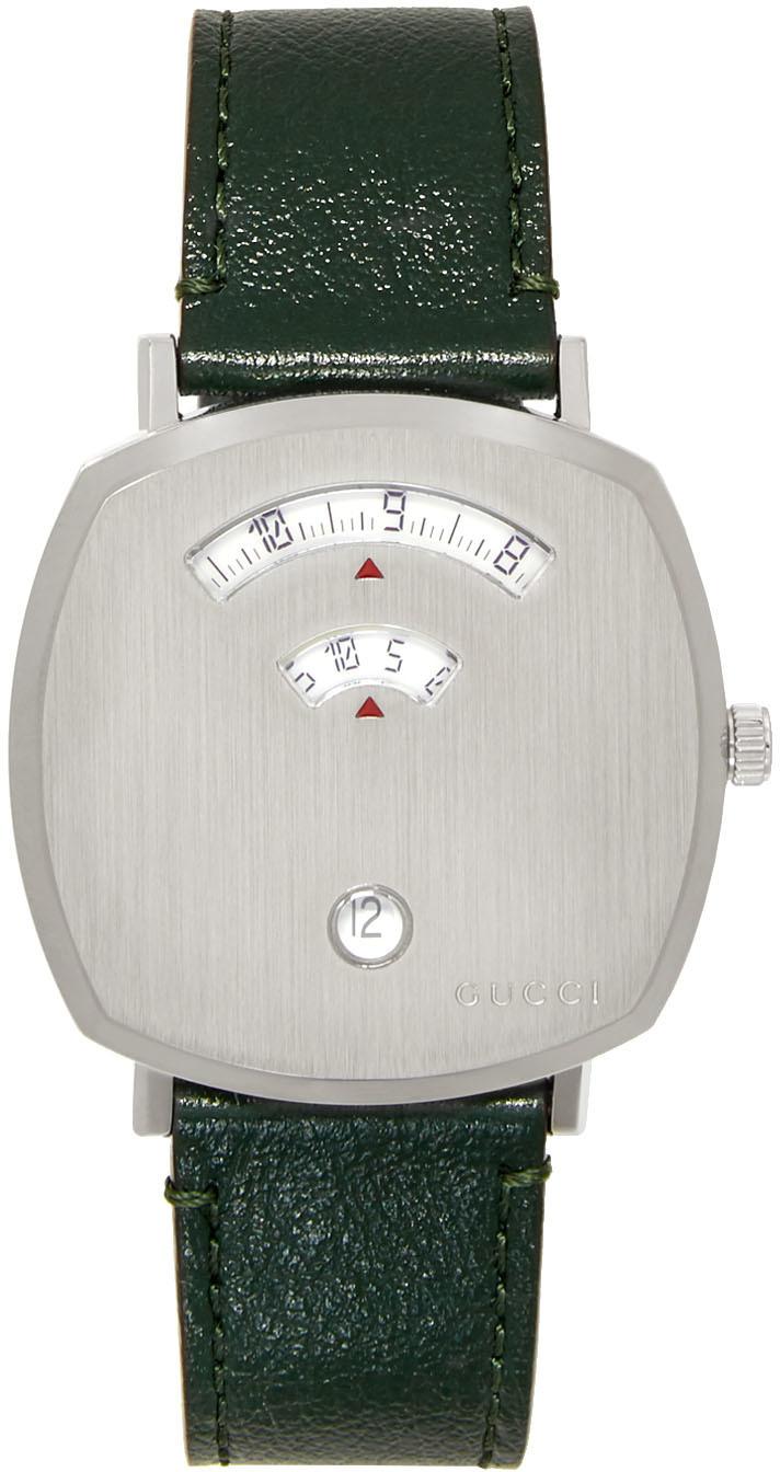 Silver & Green Grip Watch