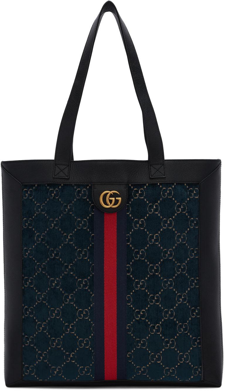 Gucci 蓝色 GG 丝绒托特包