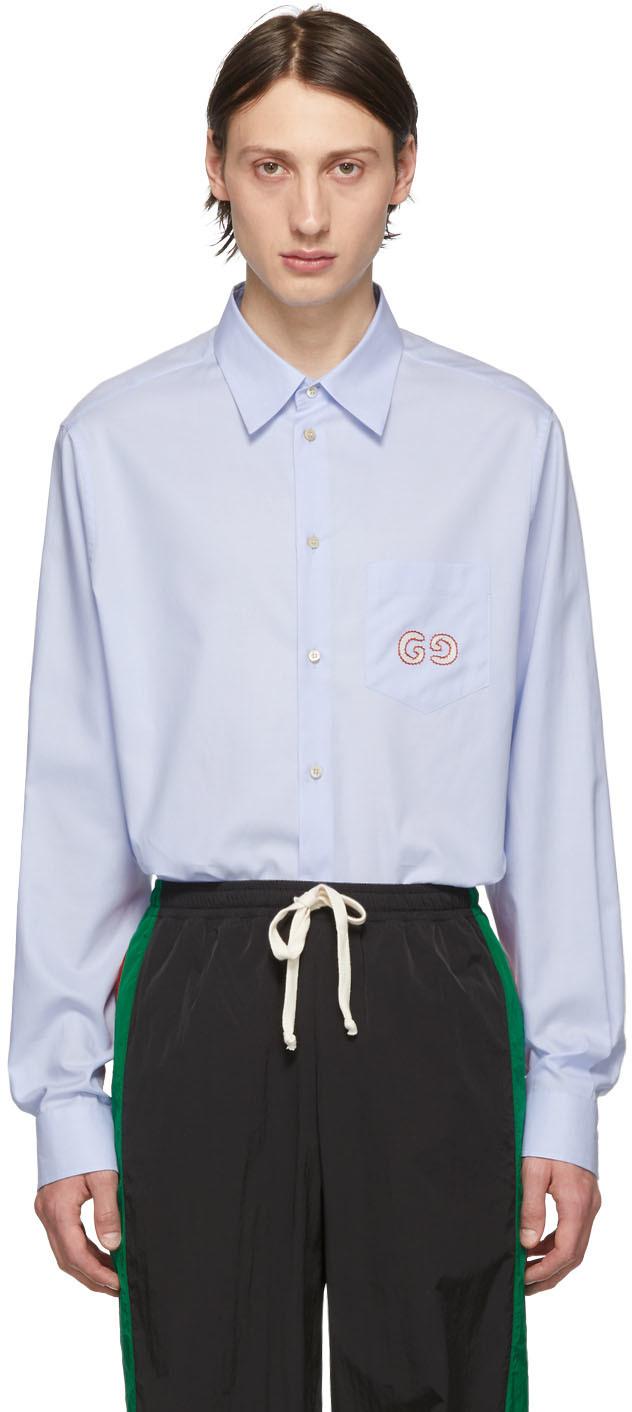 Gucci 蓝色 GG 牛津纺衬衫