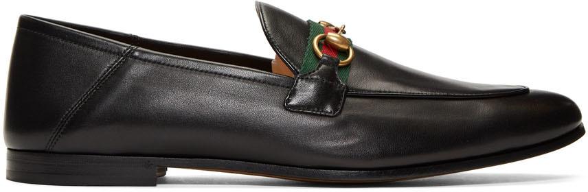 Gucci 黑色织带马衔扣乐福鞋