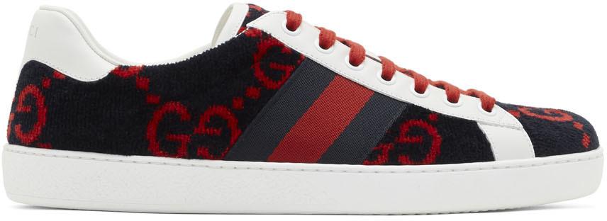 Gucci: Navy \u0026 Red Velvet GG Sneakers