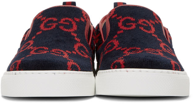 Blue Terrycloth GG Slip-On Sneakers