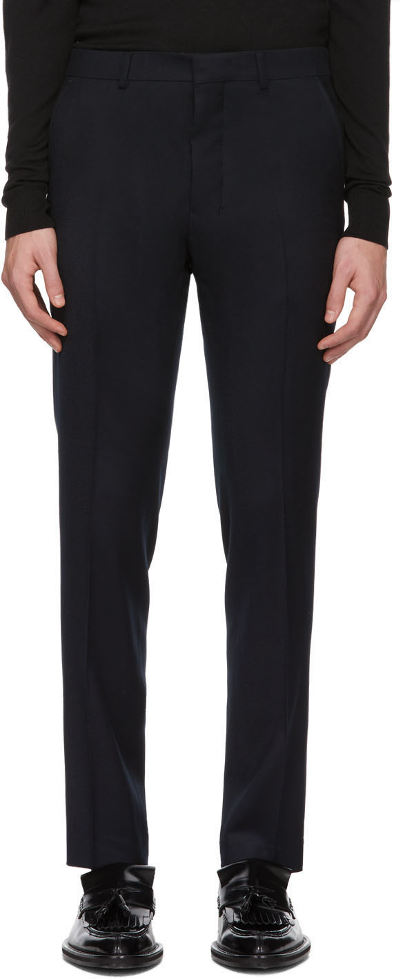 Navy Flannel Cigarette Trousers