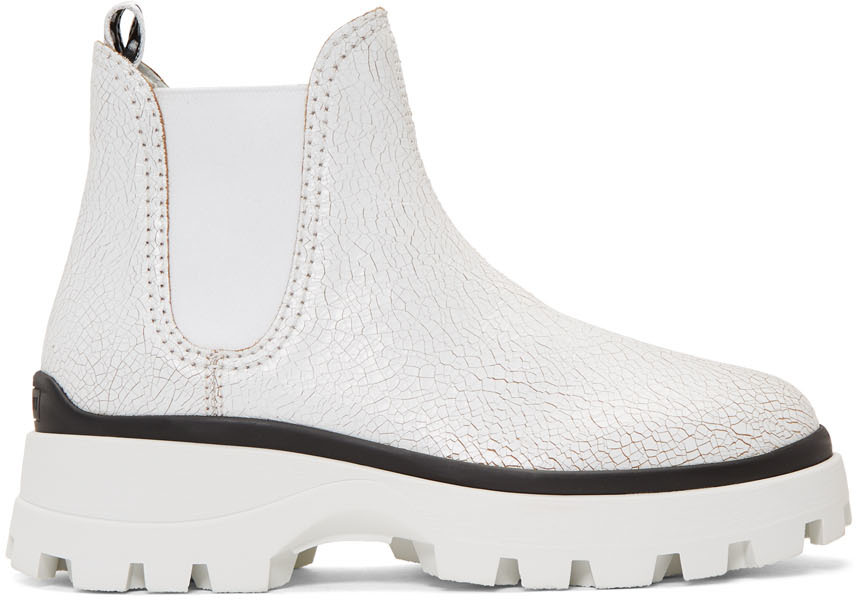 White Crackle Chunky Boots by Miu Miu