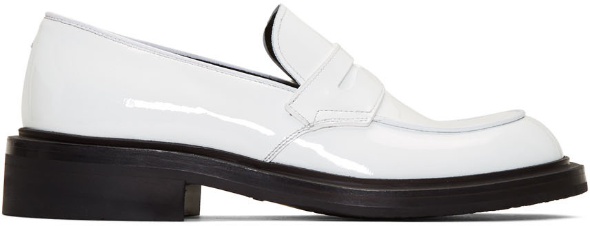 White Patent Penny Loafers by Prada on Sale