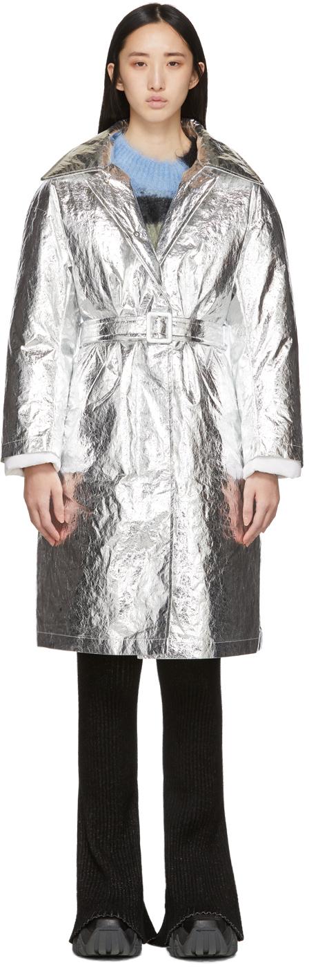 SSENSE Exclusive Silver Woolmark Mac Coat