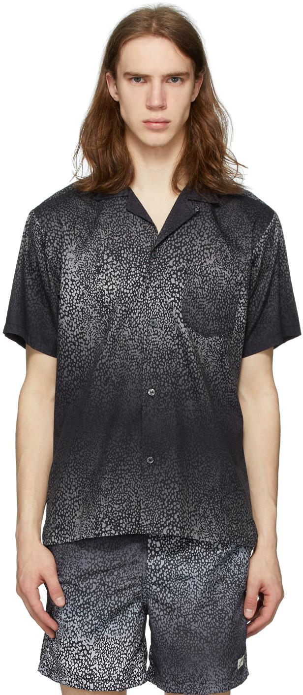 Black & Grey Gradient Cheetah Camp Shirt