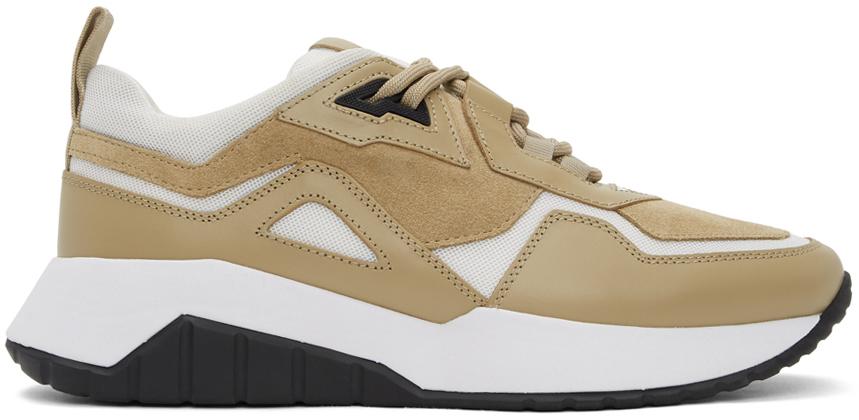 Beige & White Atom Sneakers