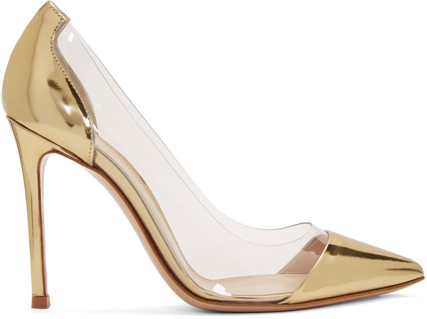 Gold Patent Plexi 105 Heels by Gianvito