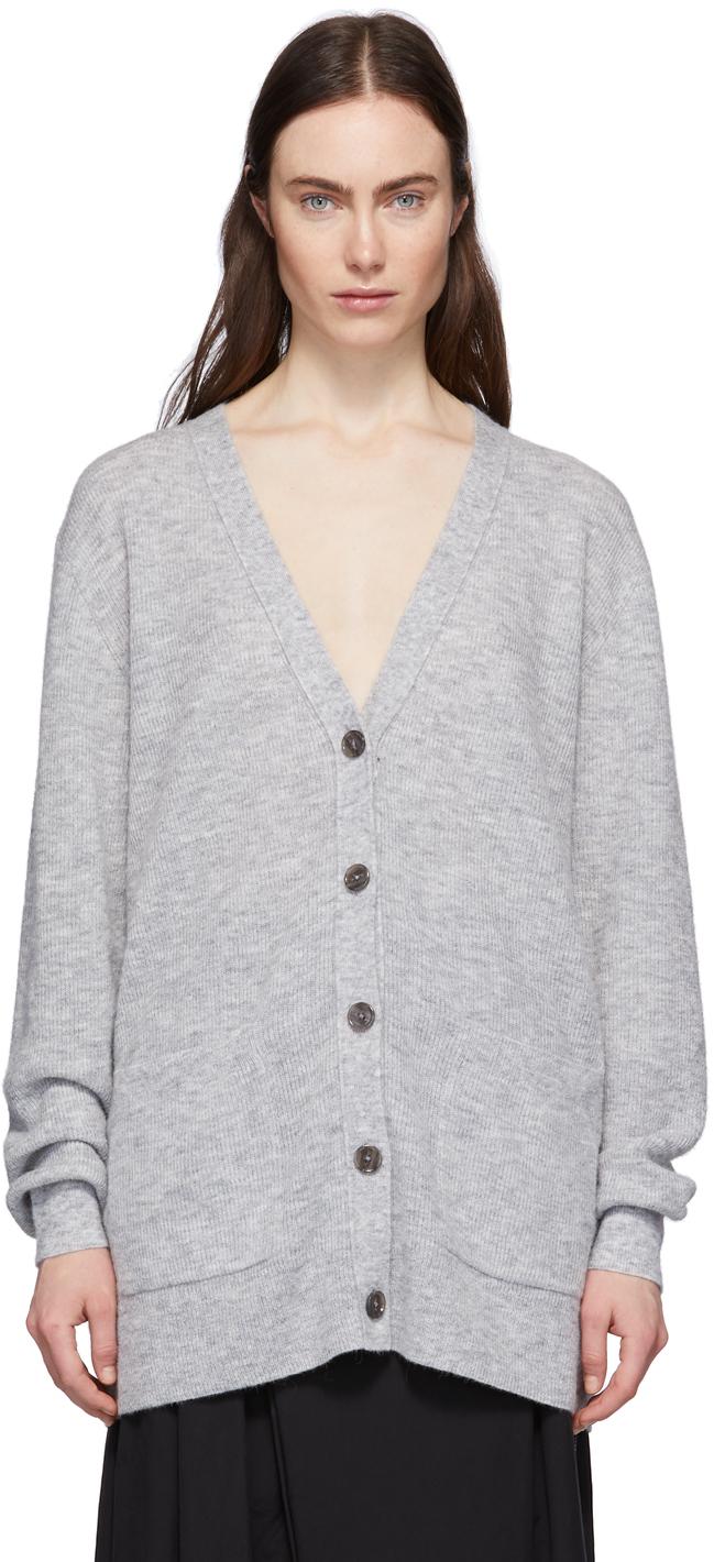Grey Alpaca Ribbed Kianne Cardigan