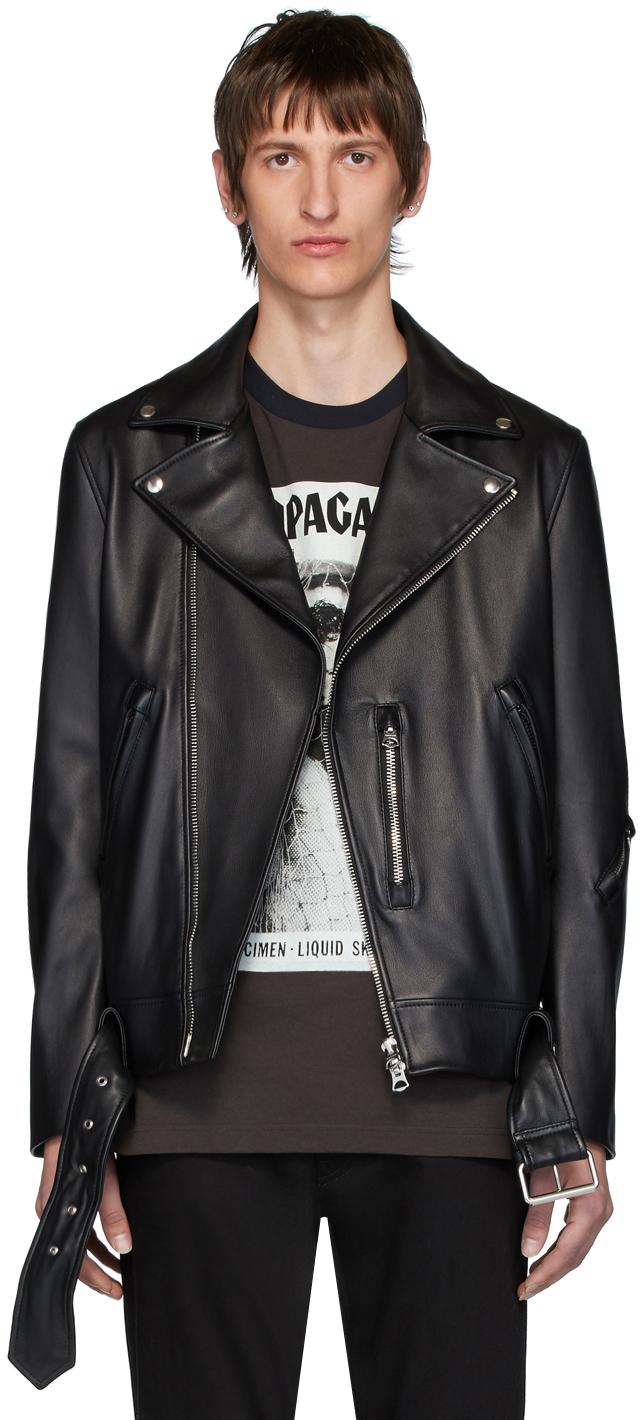 Acne Studios Black Leather Nate Clean Jacket 201129M181076