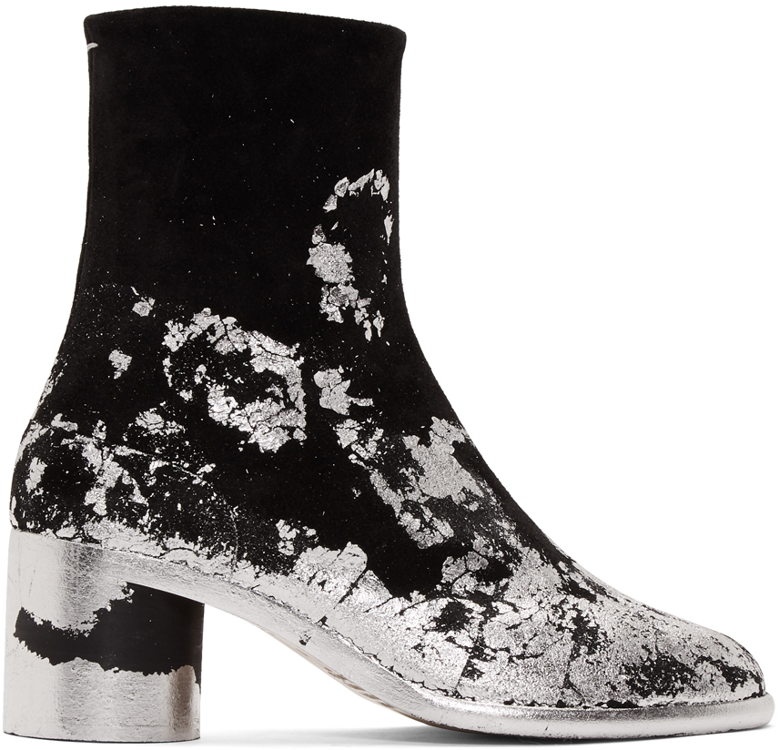 Black \u0026 Silver Suede Tabi Boots by