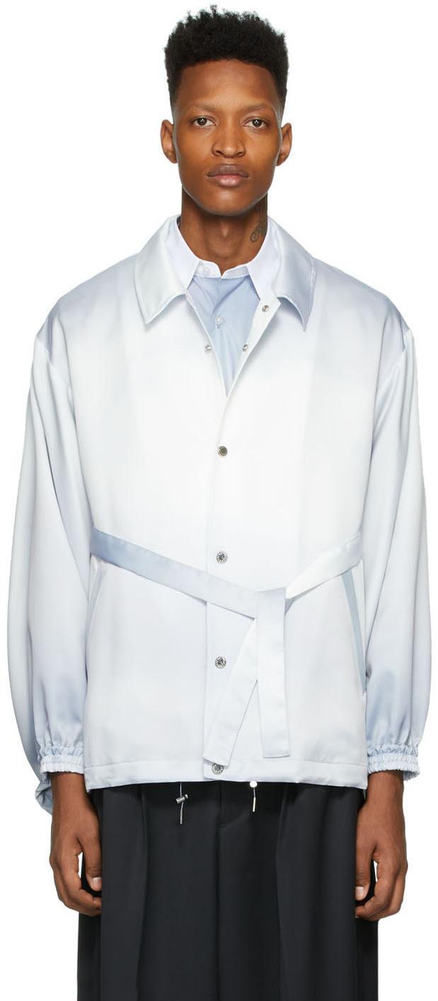 Blue & White Kimono Coach Jacket