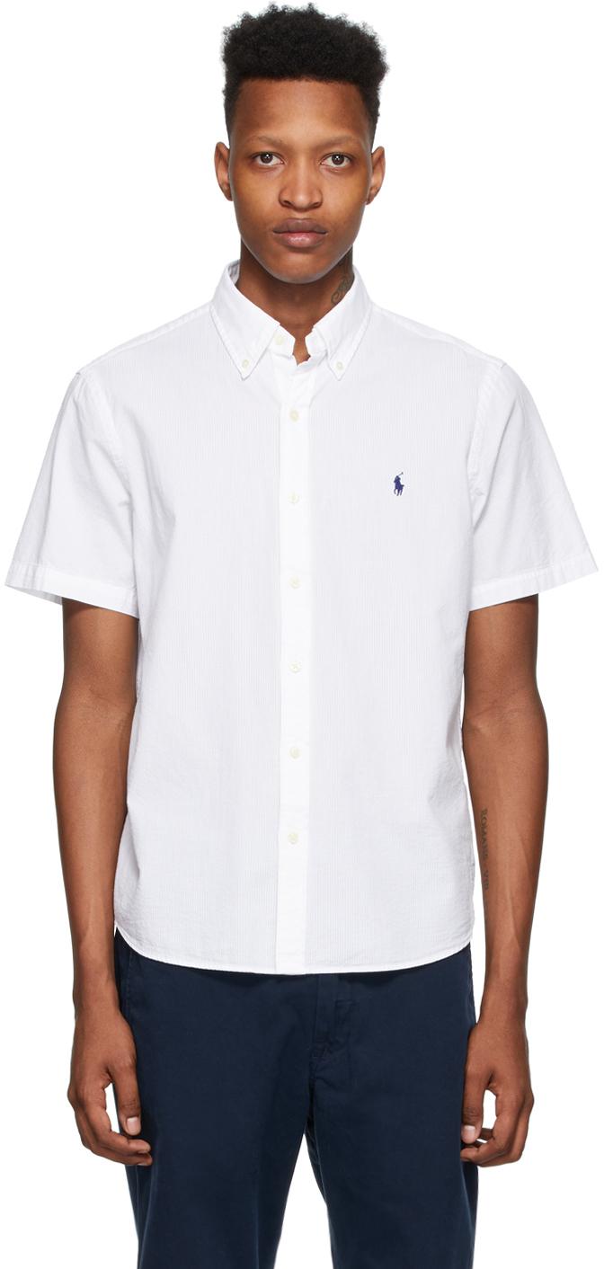 Polo Ralph Lauren White Seersucker Classic Fit Shirt Ssense