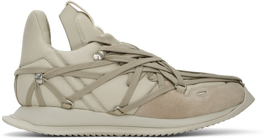 Rick Owens Off-White Maximal Runner Sneakers -Pearl