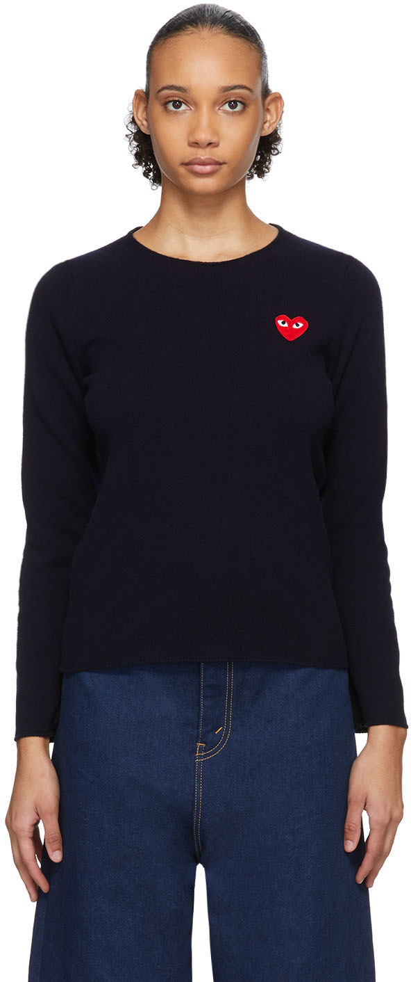 Navy Heart Patch Sweater