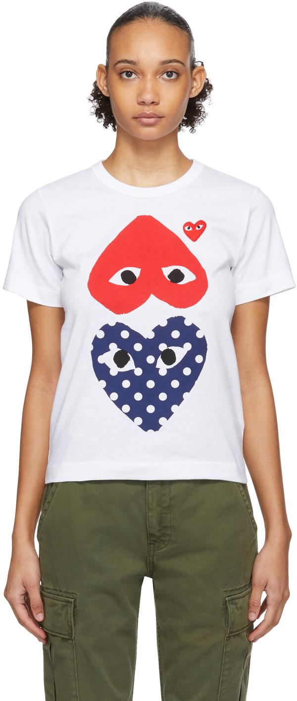 White & Red Polka Dot Upside Down Heart T-Shirt