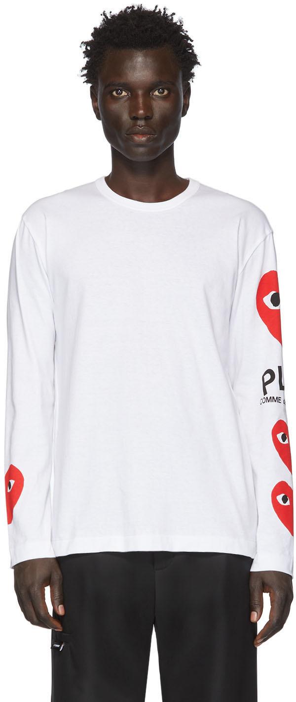 White Multi Heart Long Sleeve T-Shirt
