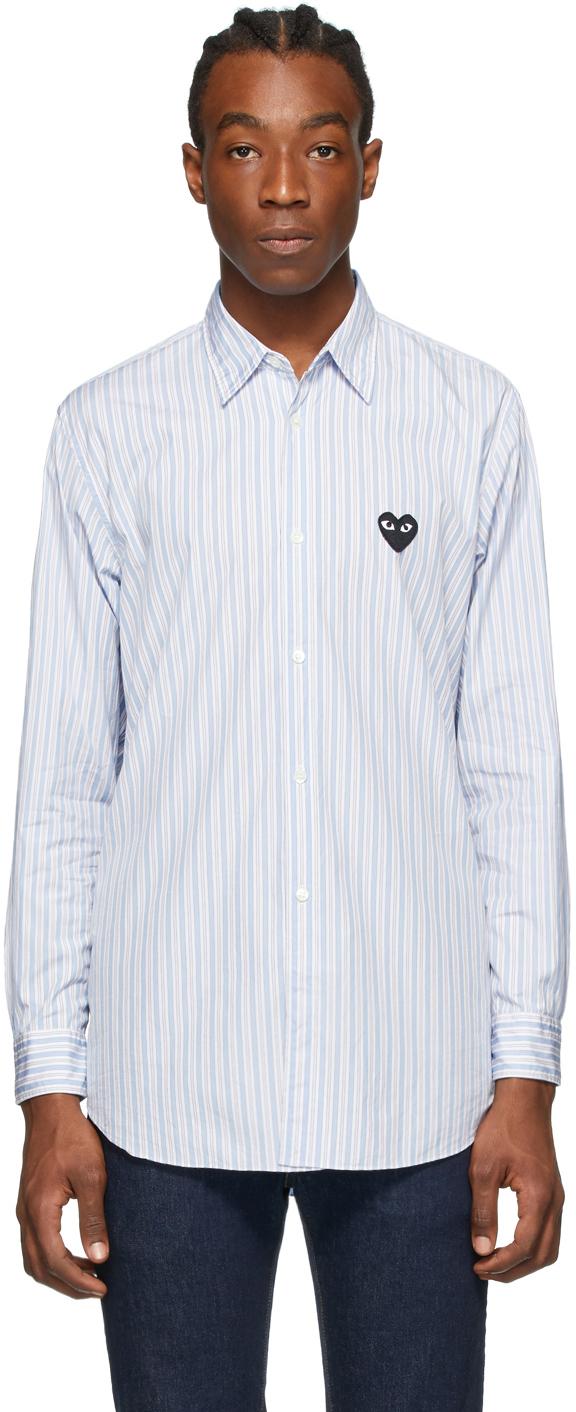 Blue Striped Heart Patch Shirt