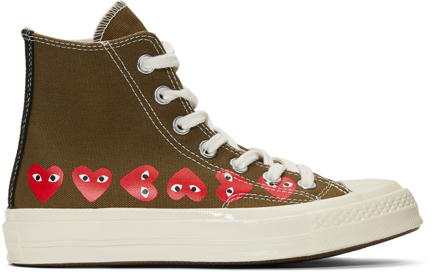 Khaki Converse Edition Multiple Hearts Chuck 70 High Sneakers
