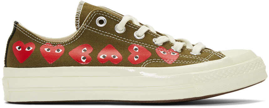 Khaki Converse Edition Multiple Hearts Chuck 70 Low Sneakers