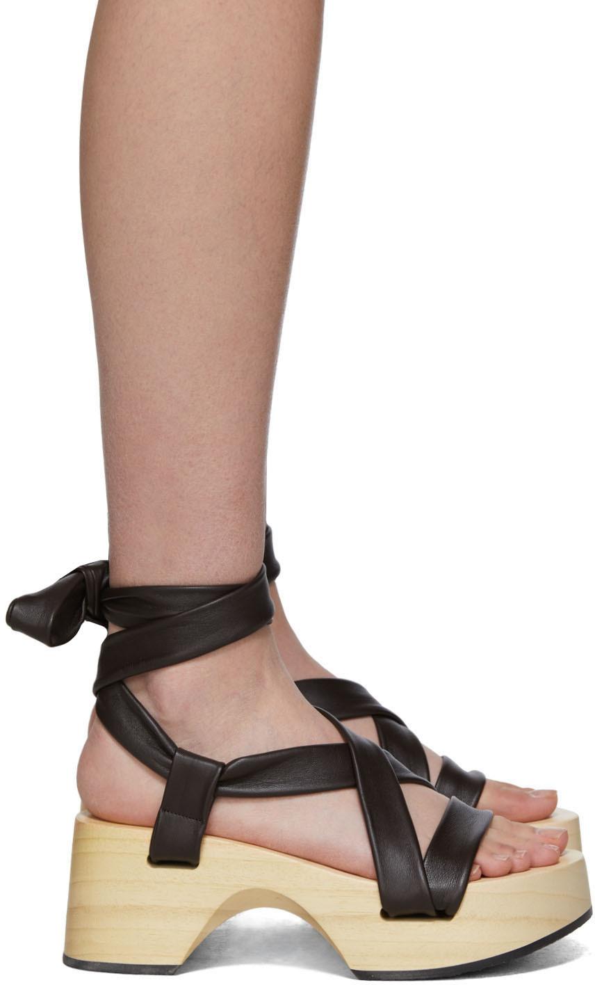 Brown Strap Wedge Sandals by Jil Sander