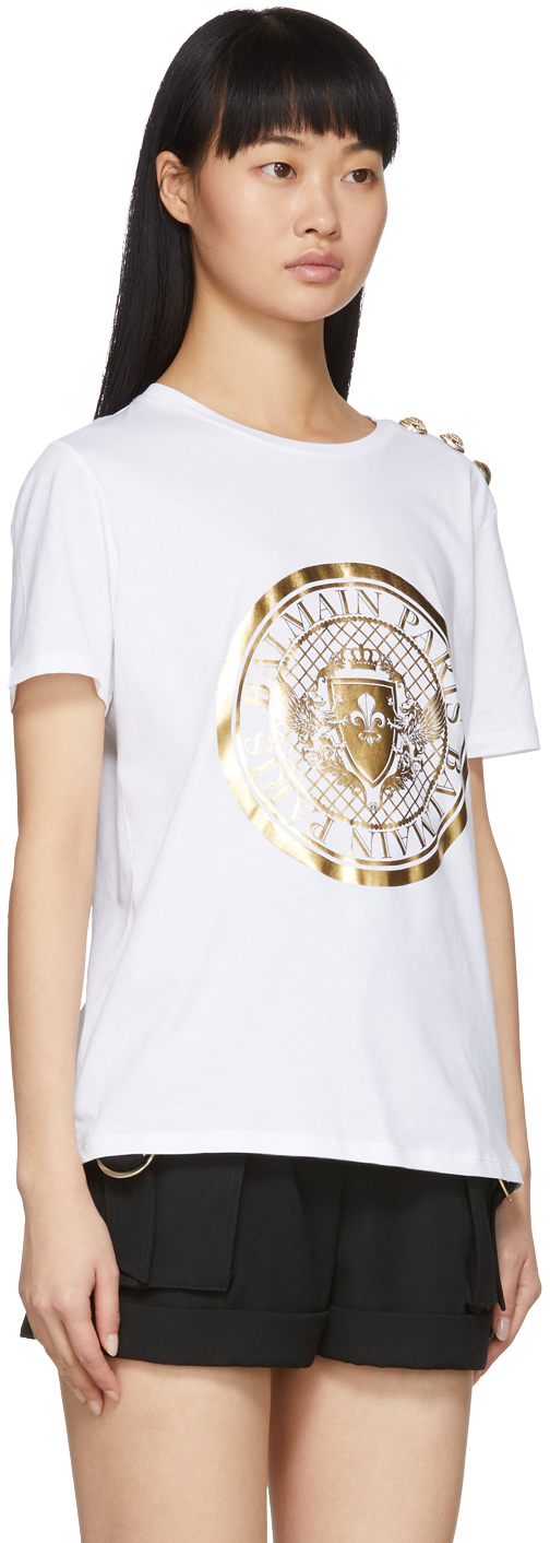 Balmain: White 3-Button Coin T-Shirt | SSENSE