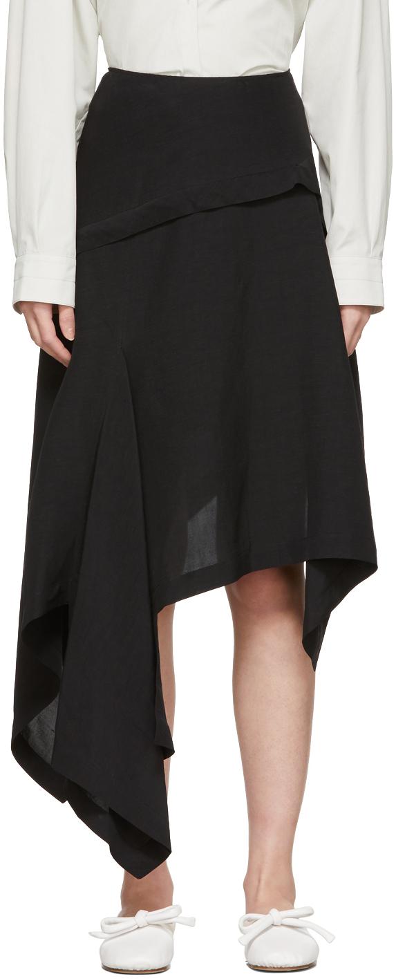 Black Silk Asymmetric Skirt