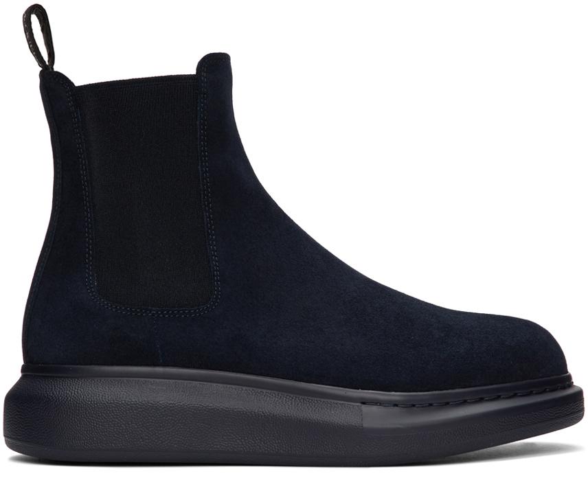 Alexander McQueen 海军蓝绒面革切尔西靴