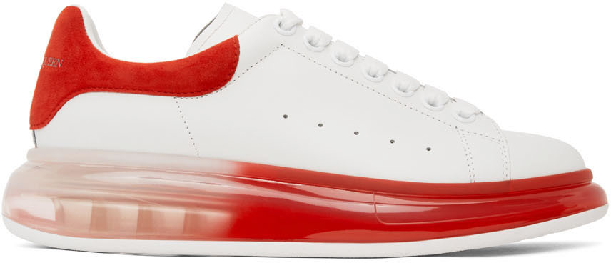 White \u0026 Red Oversized Sneakers by