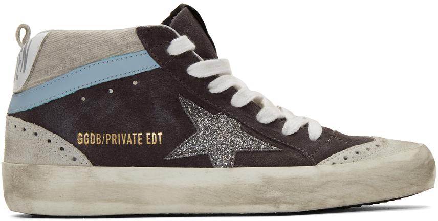 Golden Goose SSENSE Exclusive Grey Suede Glitter Mid Star Sneakers