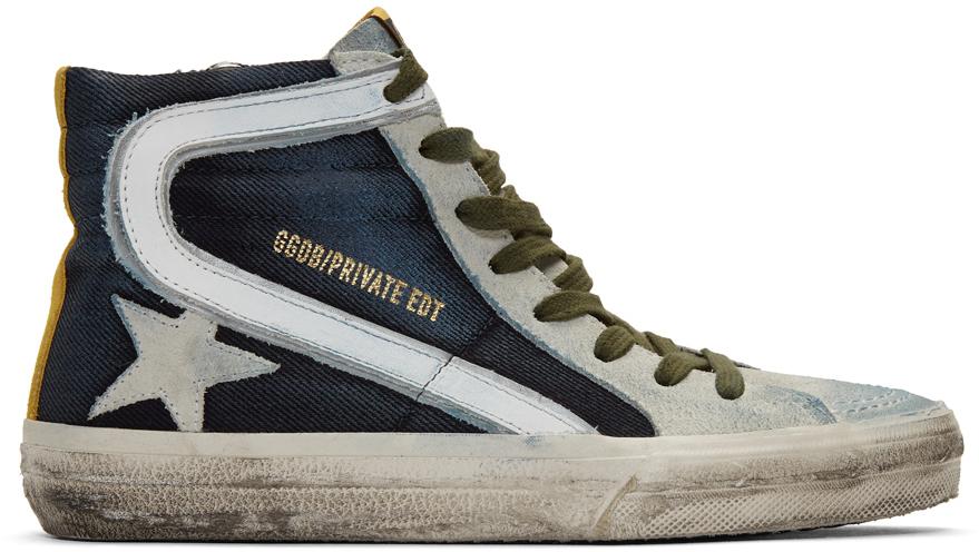 Golden Goose Blue & Grey Denim Slide Sneakers