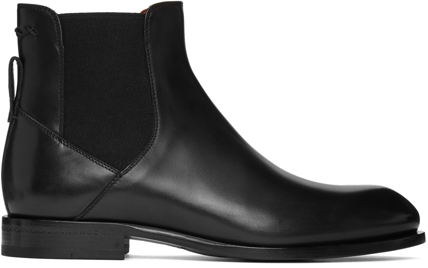 Black Stitch Chelsea Boots by
